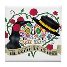 Day Of The Dead Wedding Tile Coaster