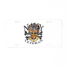 USN Navy Veteran Skull Aluminum License Plate