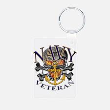 USN Navy Veteran Skull Keychains