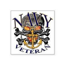 "USN Navy Veteran Skull Square Sticker 3"" x 3"""