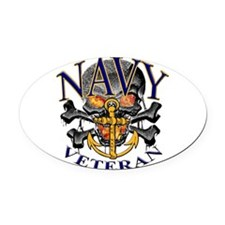 USN Navy Veteran Skull Oval Car Magnet
