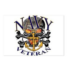 USN Navy Veteran Skull Postcards (Package of 8)