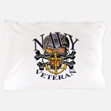 USN Navy Veteran Skull Pillow Case