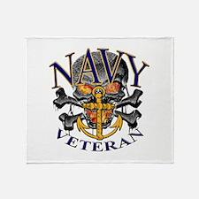 USN Navy Veteran Skull Throw Blanket