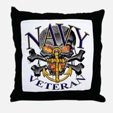 USN Navy Veteran Skull Throw Pillow