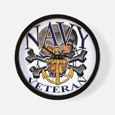 USN Navy Veteran Skull Wall Clock