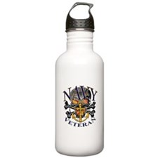 USN Navy Veteran Skull Water Bottle