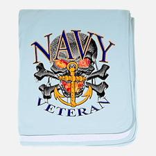 USN Navy Veteran Skull baby blanket