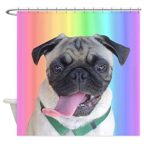 Cute Pug Rainbow Shower Curtain