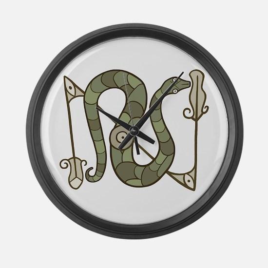 Pictish Snake Large Wall Clock