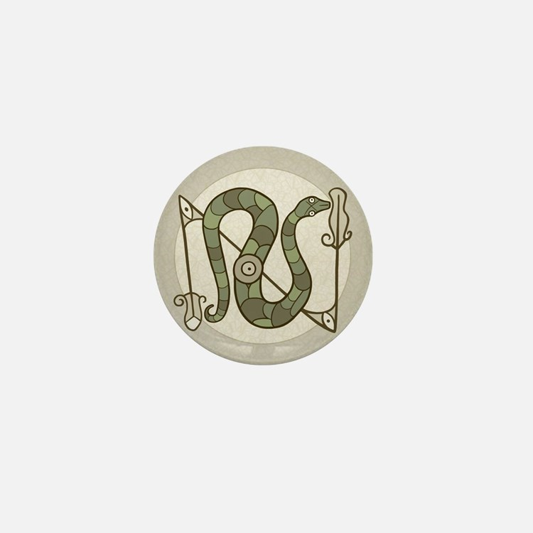 Pictish Snake Mini Button