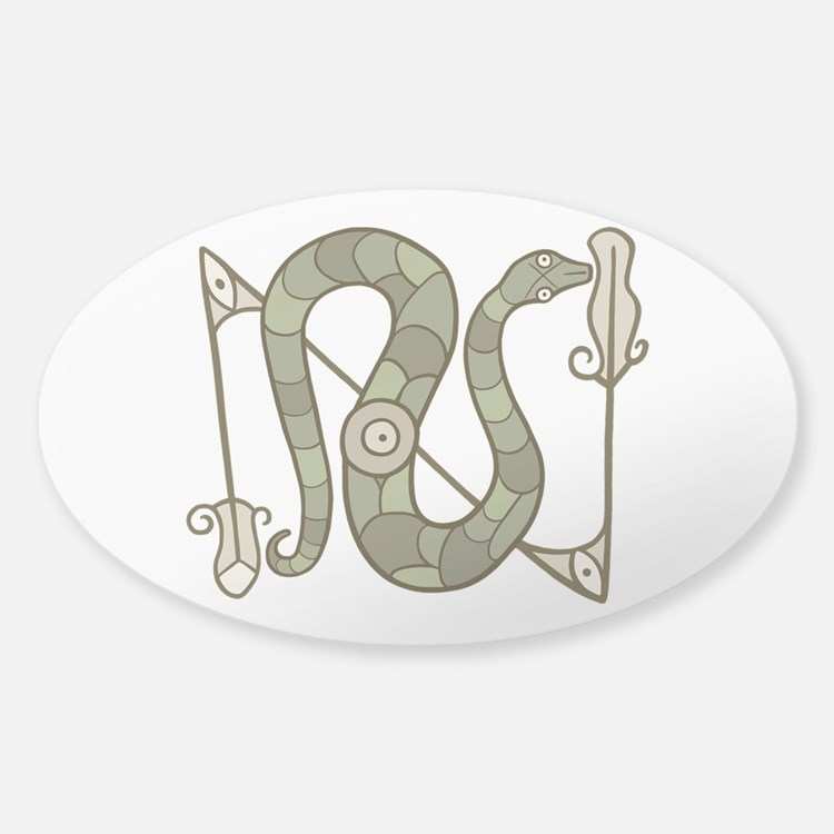 Pictish Snake Sticker (Oval)