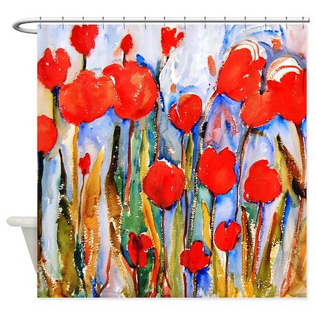 Red Tulip Razzle Dazzle Bathroom Shower Curtain