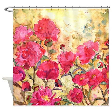 Pink Peonies Bathroom Shower Curtain