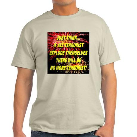No More Terrorists Ash Grey T-Shirt