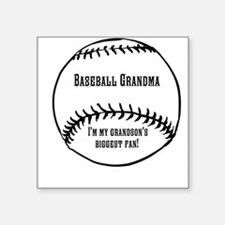 "Baseball Grandma Square Sticker 3"" x 3"""