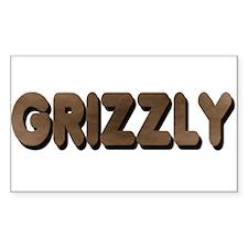 GRIZZLY-BROWN FELT LOOKING TE Sticker (Rectangular