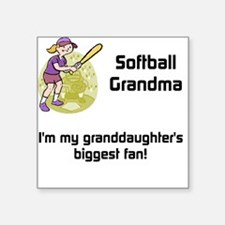 "personalized Softball Grandma Square Sticker 3"" x"
