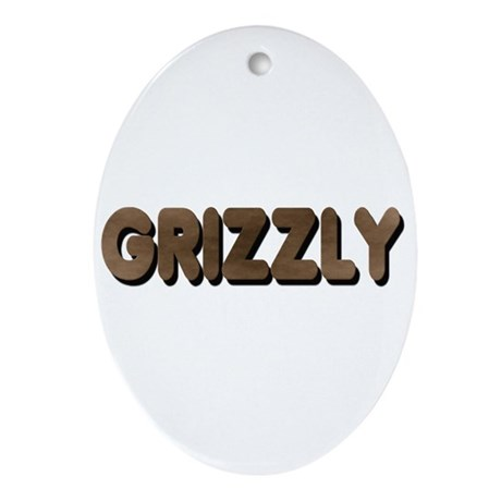 GRIZZLY-BROWN FELT LOOKING TE Oval Ornament