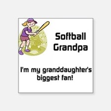 "Personalized Softball Grandpa Square Sticker 3"" x"