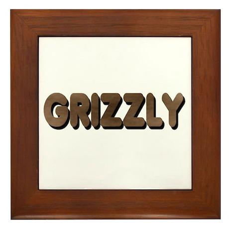 GRIZZLY-BROWN FELT LOOKING TE Framed Tile