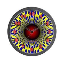 Blue on Yellow Optical Illusion Wall Clock