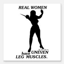 "Real Women Square Car Magnet 3"" x 3"""