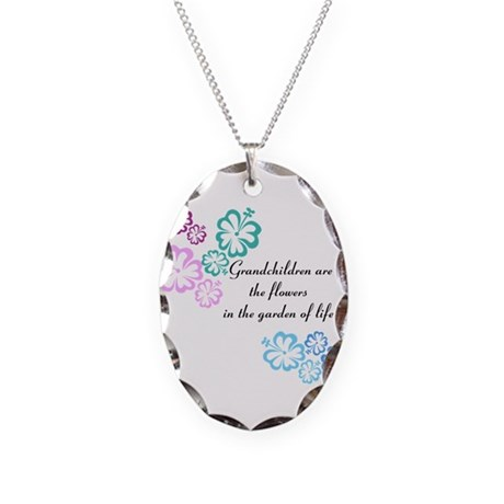 Grandchildren are flowers Necklace Oval Charm