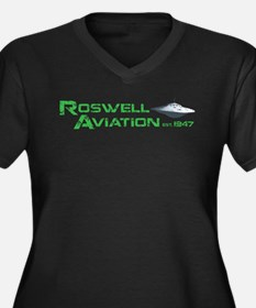 Roswell Aviation Women's Plus Size V-Neck Dark T-S