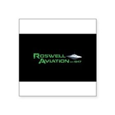 """Roswell Aviation Square Sticker 3"""" x 3"""""""