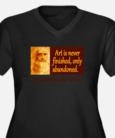 Da Vinci Quote Women's Plus Size V-Neck Dark T-Shi