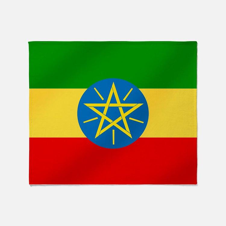 Ethiopian Flag Throw Blanket