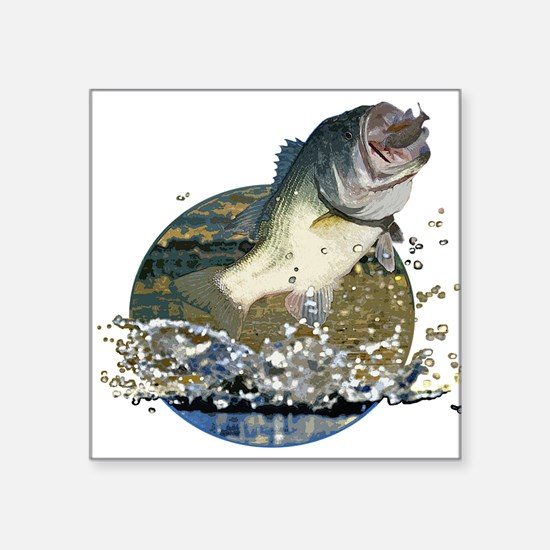 "Largemouth Bass Square Sticker 3"" x 3"""