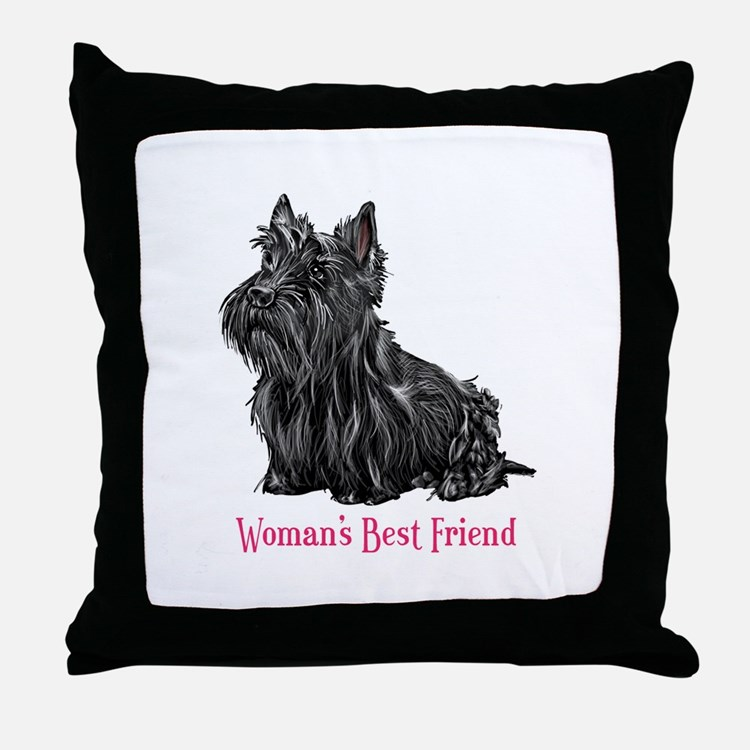 Woman's Best Friend Scottie Throw Pillow