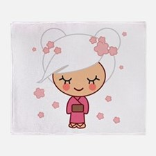 cherry blossom girl copy.jpg Throw Blanket