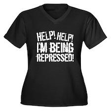 Help! Help! Women's Plus Size V-Neck Dark T-Shirt