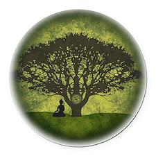 Buddha Under the Bodhi Tree Round Car Magnet