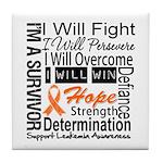 Leukemia Persevere Tile Coaster
