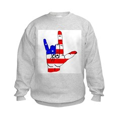 I Love USA Sign Language hand Sweatshirt