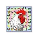 """Roosters! Square Sticker 3"""" x 3"""""""