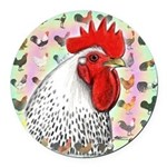 Roosters! Round Car Magnet