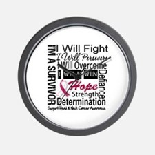 Head Neck Cancer Persevere Wall Clock