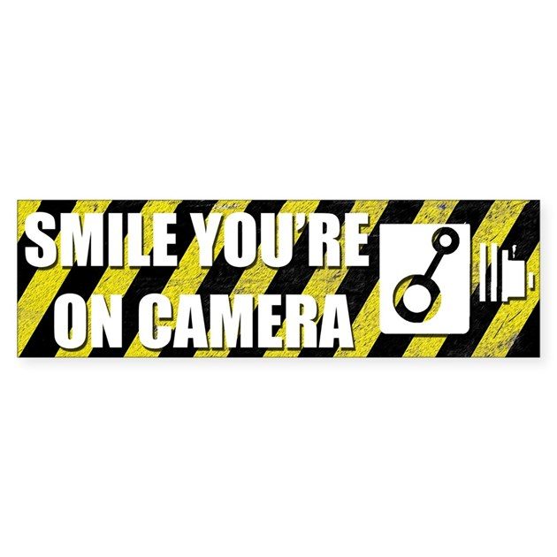 smile you39re on camera sticker bumper by littleoddworld With kitchen colors with white cabinets with smile you re on camera sticker