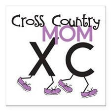"""Cross Country Mom Square Car Magnet 3"""" x 3"""""""