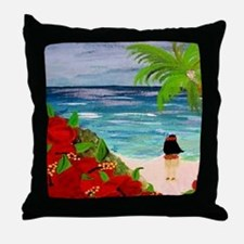 Hula Girl on the Beach Throw Pillow