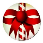 Happy Holidays Candy Cane Round Car Magnet