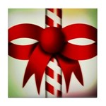 Happy Holidays Candy Cane Tile Coaster