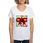 Happy Holidays Candy Cane Women's V-Neck T-Shirt