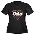 Oslo Women's Plus Size V-Neck Dark T-Shirt