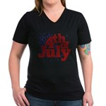 4th of July Women's V-Neck Dark T-Shirt